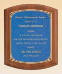 American Walnut Plaque with Linen Textured Plate Achievement Award Trophies