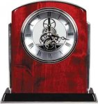 Rosewood Piano Finish Arch Clock with Silver Trim Arch Awards