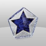 Blue Marble Star Paperweight Boss Gift Awards