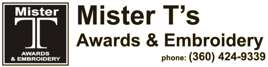 Mister T's Awards & Embroidery - mount vernon, washington, acrylic awards, crystal awards, cup trophies, perpetual plaques, baseball trophies, football trophies, soccer trophies, corporate plaques, recognition plaques, glass awards, gifts, clocks, school awards, awards, custom engraving,  relay for life plaques, sand etching, memorial stones, glass engraving, embroidery, custom embroidery, school bags, phenolic labels, plastic plates, electrical signage, industrial signage, industrial plates, laser engraving, rotary engraving,